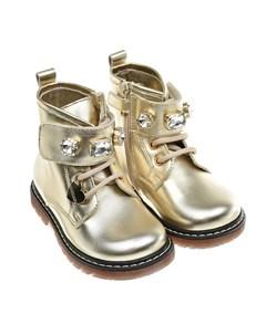 Высокие золотистые ботинки детские Monnalisa