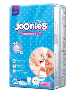 Подгузники трусики Premium Soft размер M 6 11кг 56шт Joonies