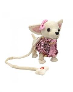 Интерактивная игрушка Собачка в костюмчике с пайетками на мягком поводке Пушистые друзья