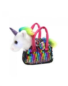 Мягкая игрушка Единорог в сумке с пайетками Пушистые друзья