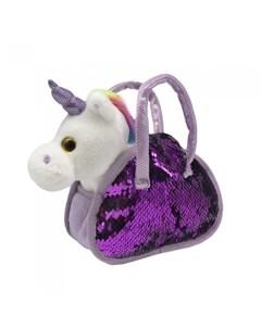 Мягкая игрушка Единорог со светом и музыкой в сумке с пайетками Пушистые друзья