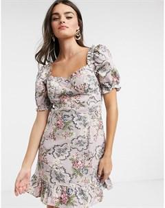 Платье мини с винтажным цветочным принтом и пышными рукавами Neon rose