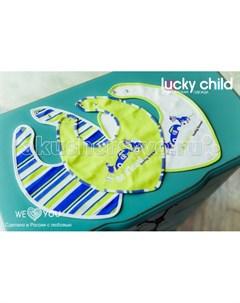 Нагрудник для мальчика Маленький Гонщик 3 шт Lucky child