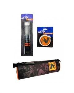 Набор пенал карандаши и ластик Nerf