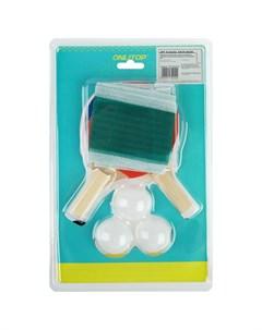 Набор для настольного тенниса детский 2 ракетки 3 мячика сетка присоски 2 шт штатив 2 шт Onlitop