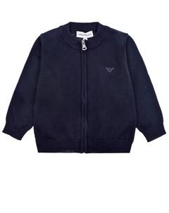 Темно синяя кофта из хлопка и шерсти детское Emporio armani