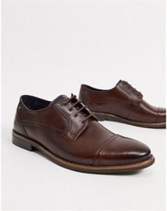 Коричневые кожаные туфли на шнуровке Base london
