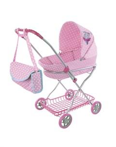 Коляска люлька Зайка для куклы розовая Mary poppins