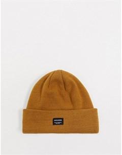 Светло коричневая вязаная шапка бини Jack & jones