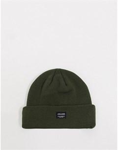 Зеленая вязаная шапка бини Jack & jones