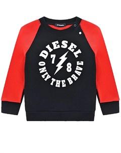 Черно красный свитшот с логотипом детское Diesel