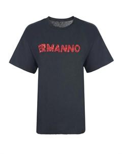 Черная футболка с красным вышитым логотипом Ermanno ermanno scervino
