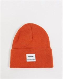 Оранжевая шапка бини с нашивкой логотипом Jack & jones