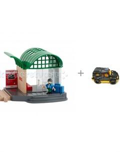Игровой набор Железнодорожная станция и джип Нордпласт Мустанг Brio