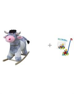 Качалка Корова 280 2008 и каталка игрушка Тилибом паровозик с мишкой машинистом Тутси