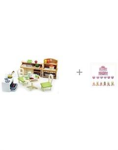 Кухня в коттедже и пупс куколка Junfa в конфетке LolliPop Baby Sylvanian families