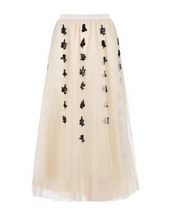 Кремовая юбка с цветами из бисера Red valentino