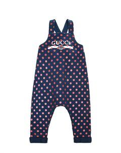 Синий полукомбинезон с принтом в горошек детский Gucci