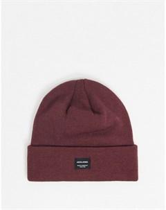 Бордовая шапка бини с логотипом Jack & jones