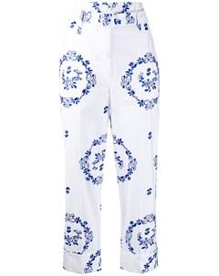 Укороченные брюки с цветочной вышивкой Simone rocha