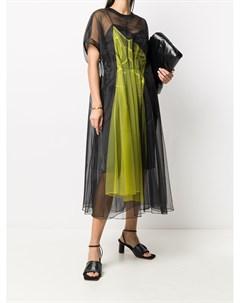 Платье миди с прозрачными вставками Quetsche