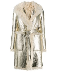 Пальто из овчины с поясом Blancha