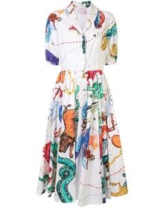 Платье рубашка миди с принтом Stella jean