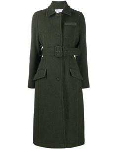 Пальто длины миди с поясом Push button