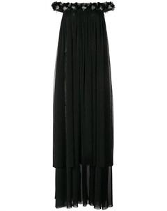 Платье с открытыми плечами и бусинами Huishan zhang