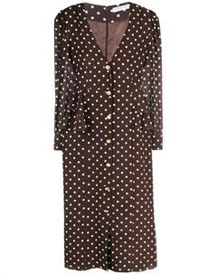 Платье миди на пуговицах с узором в горох Alessandra rich