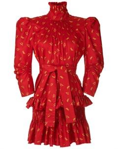 Платье с принтом и воротником воронкой À la garçonne