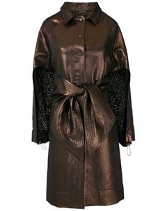 Пальто с эффектом металлик и поясом À la garçonne