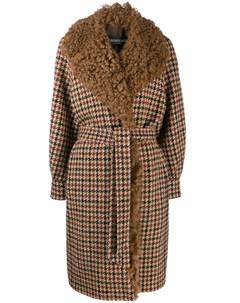 Клетчатое пальто с овчиной Simonetta ravizza