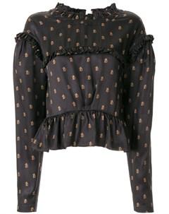 Блузка с оборками и монограммой Preen by thornton bregazzi