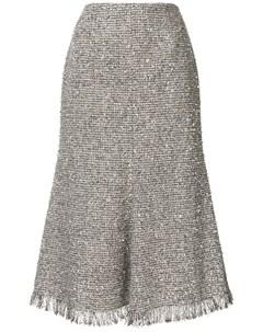 Твидовая юбка миди с эффектом металлик Goen.j