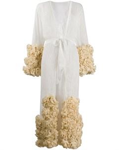 Кружевной халат с цветочной аппликацией Dolci follie