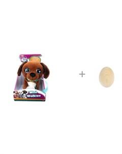 Интерактивная игрушка Club Petz Щенок Mini Walkiez Chocolab и игрушка RNToys Яйцо под роспись Imc toys