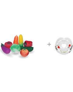 Набор игрушек для купания Овощи и круг на шею 3 36 мес Baby Swimmer Огонек