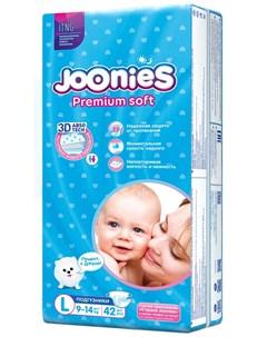 Подгузники Premium Soft размер L 9 14кг 42шт Joonies