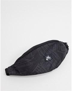 Черная сумка кошелек на пояс с принтом Nike sb