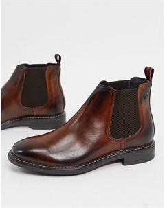 Коричневые кожаные ботинки челси Base london