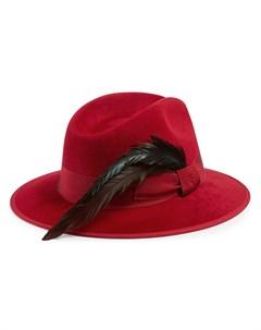 шляпа федора с перьями Gucci