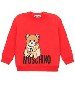 Красный свитшот с принтом медвежонок с печеньем детский Moschino