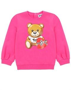 Свитшот цвета фуксии с принтом медвежонок детский Moschino