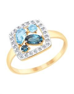 Кольцо из золота с голубыми и синими топазами и фианитами Sokolov