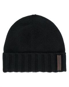 кашемировая шапка бини с нашивкой логотипом Ermenegildo zegna
