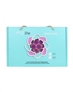 Подушка массажная акупунктурная фиолетовая EcoLife 45 х 34 см Gezatone