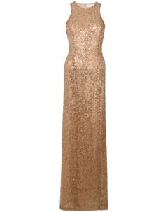 Вышитое пайетками платье в пол Galvan