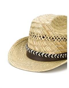Плетеная шляпа федора с лентой Saint laurent