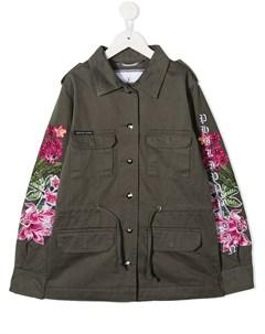 пальто с цветочной вышивкой и узором Skull Philipp plein junior